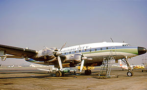 Lake Havasu City, Arizona - McCulloch Properties Lockheed Constellation used to transport prospective purchasers to Lake Havasu City in the early 1970s and wearing the city's name.