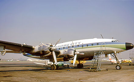 McCulloch Properties Lockheed Constellation used to transport prospective purchasers to Lake Havasu City in the early 1970s and wearing the city's name. Lockheed L-049 N90823 Havasu LGB 06.02.71 edited-2.jpg