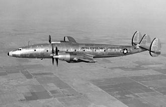 Lockheed L-1249 Super Constellation - Image: Lockheed R7V 2 turboprop Connie in flight c 1953