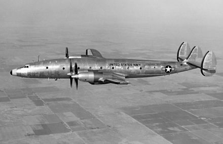 A United States Navy R7V-2 (L-1249) in flight. The L-1249 used Pratt & Whitney T34 turboprop engines in place of the Wright R-3350 radials.[12] - Lockheed Constellation