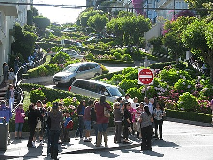"Lombard Street is a popular tourist destination in San Francisco, known for its ""crookedness"" Lombard St.jpg"