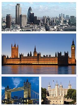 Top: City of London skyline, Middle: Houses of Parliament, Bottom left: Tower Bridge, Bottom right: Tower of London.