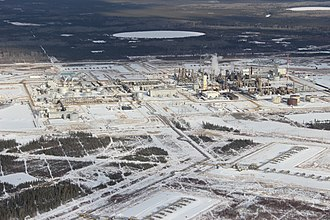Long Lake (oil sands) - Aerial photograph of the industrial buildings at Long Lake