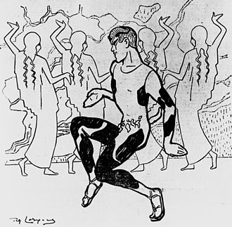 Afternoon of a Faun (Nijinsky) - Cartoon by Daniel de Losques published in Le Figaro 30 May 1912