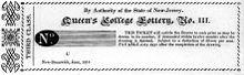 Biglietto della lotteria - Queen's College Lottery, New-Brunswick, New Jersey, USA, 1814
