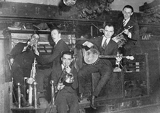 Disco ball - A mirrored ball can be seen above the bandstand in this 1919 photo of the Louisiana Five jazz band.
