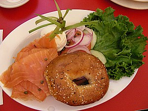American Jewish cuisine - A bagel, lox, and cream cheese sandwich, before assembly