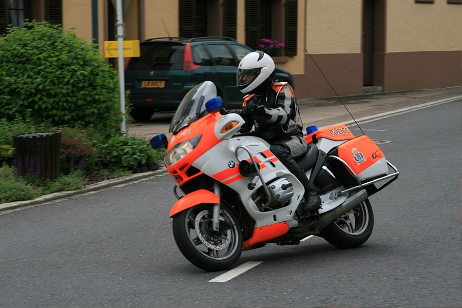 A motorcycle of the Luxembourg police in Stolzembourg, Luxembourg.