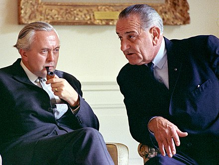 Wilson with President Lyndon B. Johnson at the White House in 1966 Lyndon B. Johnson meets with Prime Minister Harold Wilson C2537-5 (cropped).jpg