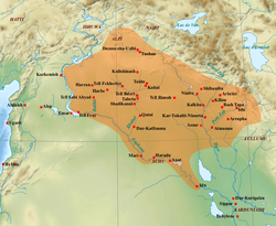 Map of the Ancient Near East showing the extent of the Middle Assyrian Empire (orange) c. 1392 BC.