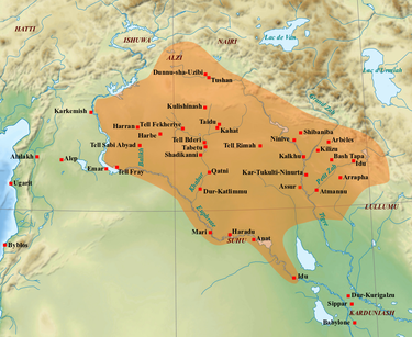 The core territory of Assyria in the 8th century BC. After the death of Adad-nirari III in 783 BC, Assyria had entered a period of instability and decline, and lost its suzerainty over its former vassal and tributary states. Medio-assyrien.png