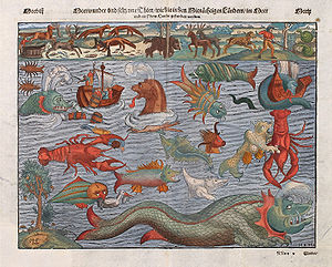 Sea monster - Plate ca. 1544 depicting various sea monsters; compiled from the Carta Marina.