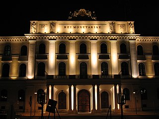 night view of the main building of the Austrian Mint