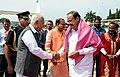 M. Venkaiah Naidu being bid farewell by the Governor of Karnataka, Shri Vajubhai Rudabhai Vala and the Union Minister for Chemicals & Fertilizers and Parliamentary Affairs, Shri Ananth Kumar, on his departure, in Bengaluru.jpg