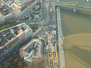 Line 4 (Budapest Metro) - Construction works taking place at Szent Gellért Tér close to the Danube River, 2009