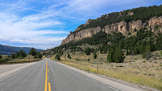 U.S. Route 16 - US 16 in the Ten Sleep Canyon, Bighorn Mountains, Wyoming