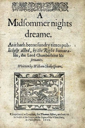 Quarto - Title page of the first quarto edition of Shakespeare's Midsummer Night's Dream, 1600, from the Folger Shakespeare Library