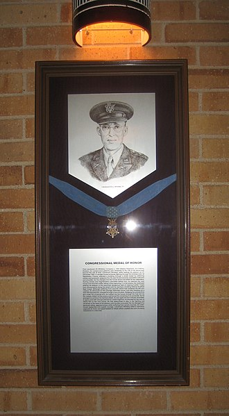 Eli L. Whiteley - Eli L. Whiteley and an exhibit Medal of Honor on display at Texas A&M University
