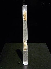 Photographie en couleurs sur fond noir d'un tube transparent reposant sur un support carré noir et contenant deux fragments d'artefact.