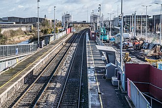 Broombridge railway station - Improvement in progress in February 2018 with the LUAS to the right and the Royal Canal on the left
