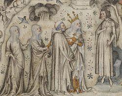 Miniature du XIVe siècle: Nature offre à Guillaume de Machaut trois enfants: Sens, Rhétorique et Musique.