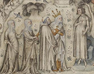 Guillaume de Machaut - Machaut (at right) receiving Nature and three of her children. From an illuminated Parisian manuscript of the 1350s