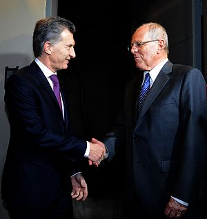 Argentina–Peru relations - Presidents Mauricio Macri from Argentina (left) and Pedro Pablo Kuczynski from Peru (right)