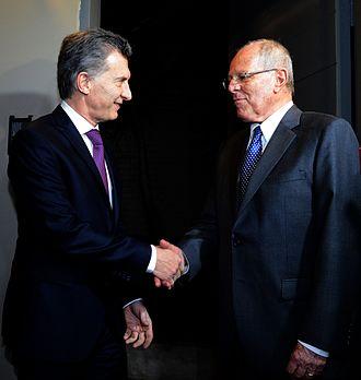 Argentina–Peru relations - Presidents Mauricio Macri from Argentina (left) and Pedro Pablo Kuczynski from Peru (right)
