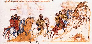 Sack of Amorium - Emperor Theophilos flees after the Battle of Anzen, miniature from the Madrid Skylitzes manuscript