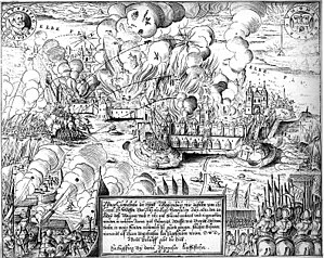 b/w print showing walled city ablaze in the background; many armed men approach from left; cannons are firing from left foreground; text box in bottom center