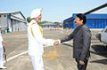 Maharashtra Governor C. Vidyasagar Rao being received at INS Shikra by Vice Admiral SPS Cheema.JPG