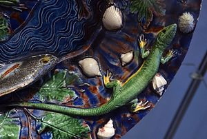 Bernard Palissy - Detail of a Palissy still-life platter of c. 1550 (see below for the whole piece)