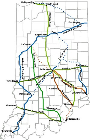 Indiana Mammoth Internal Improvement Act - Map showing the extent of the projects along with portions that were not completed by the state