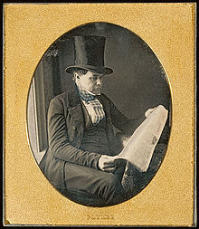 An 1842 Daguerreotype of a man wearing a top hat.
