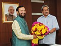 Manohar Parrikar meeting the Minister of State for Information and Broadcasting (Independent Charge), Environment, Forest and Climate Change (Independent Charge) and Parliamentary Affairs, Shri Prakash Javadekar.jpg
