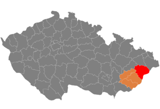 Moravian Wallachia - Districts of the Czech Republic that comprise Moravian Wallachia in full (red) and in part (orange)