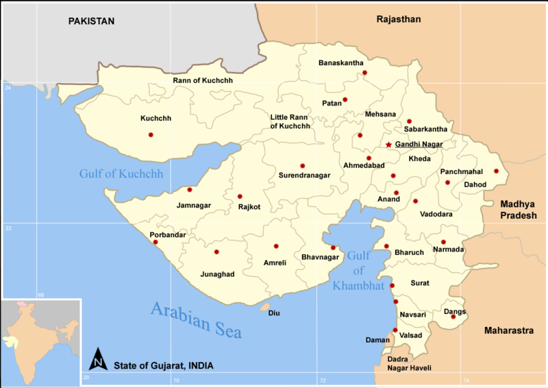 File:Map Gujarat state and districts.png