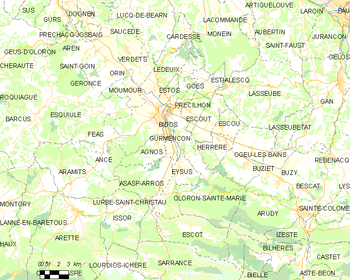 Map of the commune of Oloron-Sainte-Marie