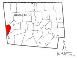 Map of Bradford County with Armenia Township highlighted