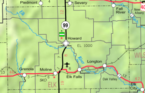 Elk Falls, Kansas - Image: Map of Elk Co, Ks, USA
