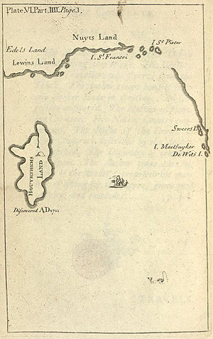 Houyhnhnm - Map of Houyhnhnms Land (original map, Pt IV, Gulliver's Travels), showing its location south of New Holland (Australia).