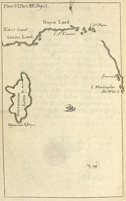 Map of Houyhnhnms Land (original map, Pt IV, Gulliver's Travels), showing its location south of New Holland (Australia). Map of Houyhnhnms land.jpg