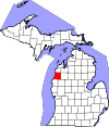 State map highlighting Manistee County