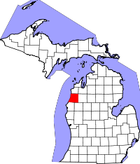Kart over Michigan med Manistee County uthevet