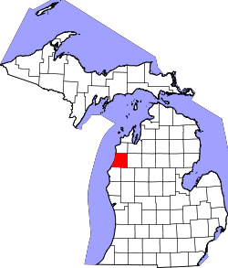 map of Michigan highlighting Manistee County