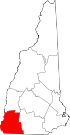 Map of New Hampshire highlighting Cheshire County.svg