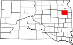 State map highlighting Codington County