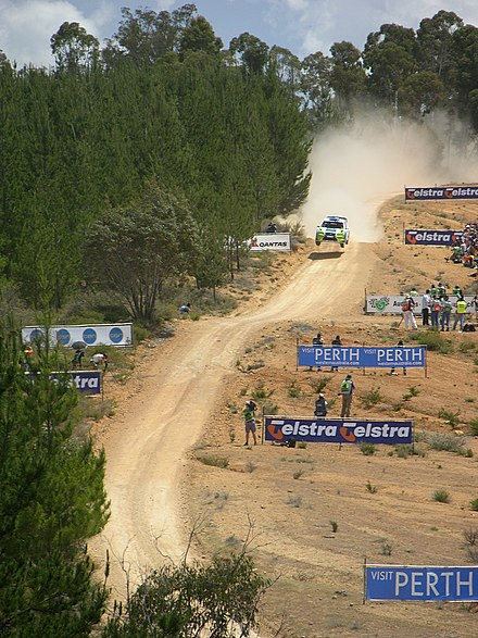 Ford's Marcus Gronholm at the Bunnings Jumps of the 2006 Rally Australia. Marcus Gronholm Bunnings Jumps.jpg