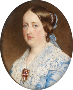 Queen Maria II, around age 33, one year before her death, c. 1852. Painting by Sir William Charles Ross. Maria II 1852.png
