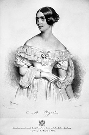 Marie Pleyel - Marie Moke-Pleyel (lithograph by Josef Kriehuber, 1839)